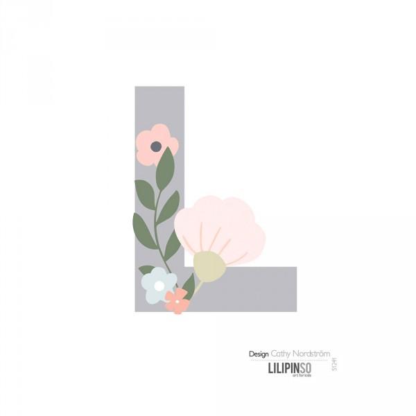 Lilipinso Sticker Buchstabe mit Blüten grau rosa pastell L