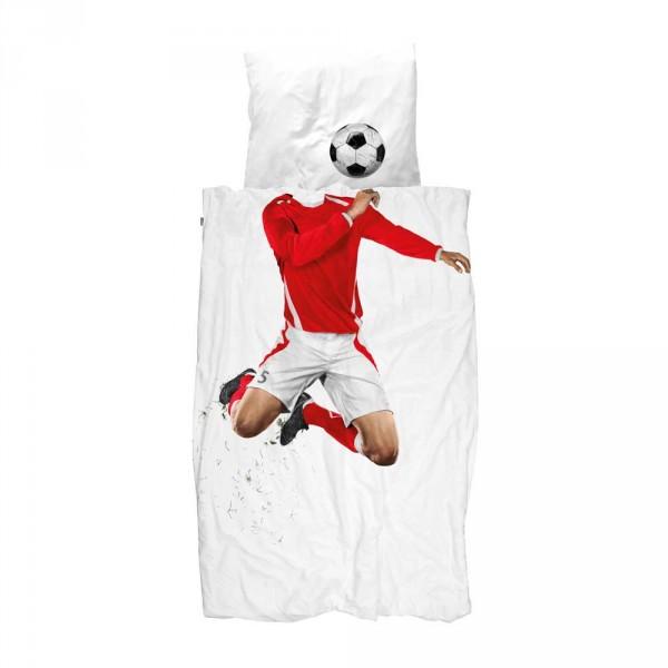 Snurk Bettwäsche Fußballer rot 135 x 200