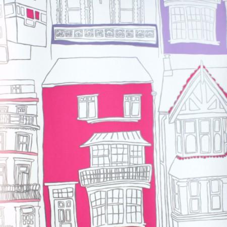 Harlequin Tapete Häuser pink
