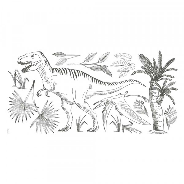 Lilipinso Wandsticker XL Tyranosaurus mit Palmen grau