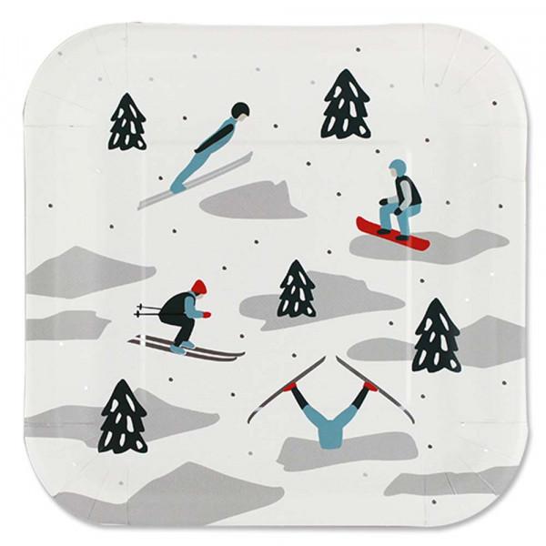 Ava & Yves Pappteller Set Ski Fahrer