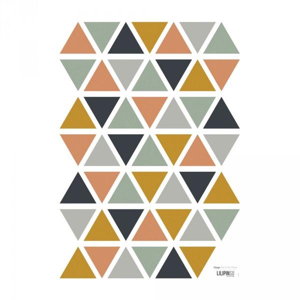 Lilipinso Wandsticker A3 Dreiecke ocker blau grau beige