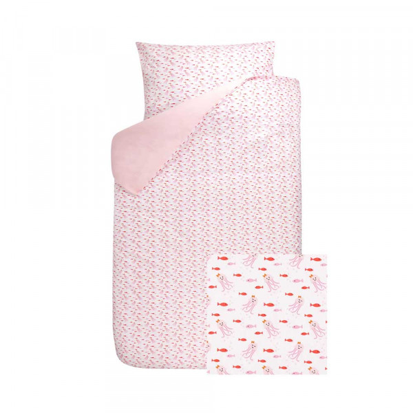 Bink Kinderbettwäsche Octo Tintenfisch & Fische rosa rot 100 x 135