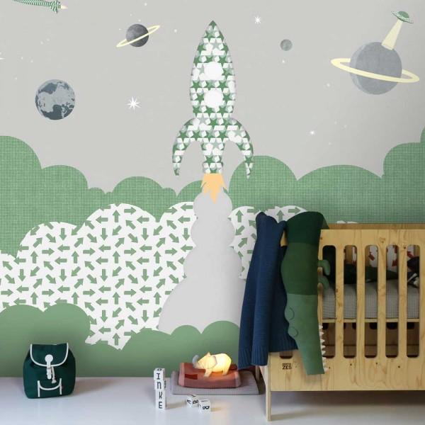 Inke Wandbild Rakete grün