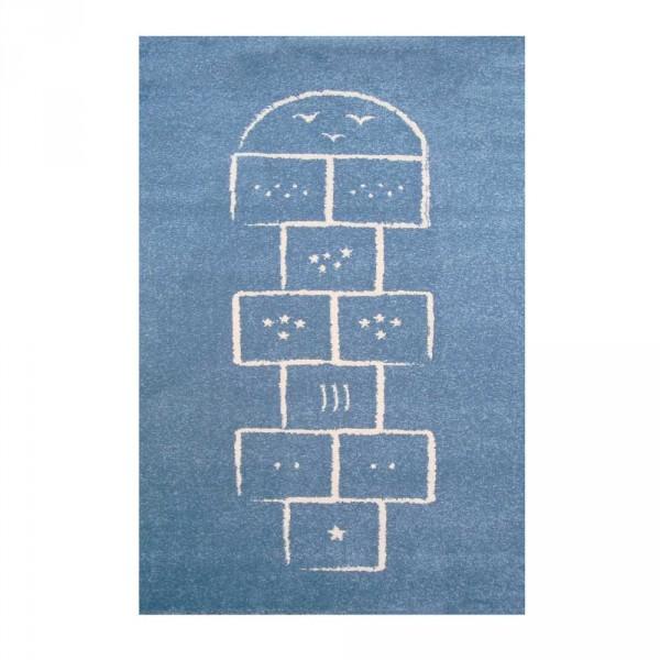 Art for Kids Kinderteppich Hüpfkästchen blau