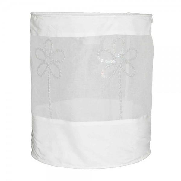 Taftan Lampenschirm geknittert Blume weiß