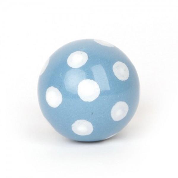 Knaufmanufaktur Möbelknauf Ball Keramik blau Punkte weiss