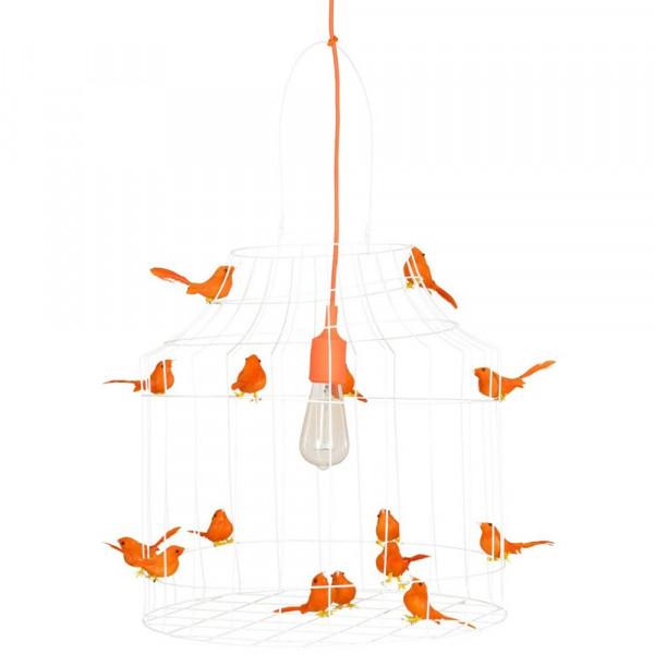 Dutch Dilight Pendellampe weiß Vögelchen orange