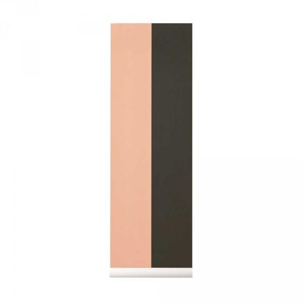 Ferm Living Tapete breite Streifen grün rosa