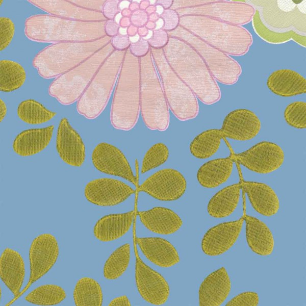 Inke Tapeten Wandbild Vintage Blätter blau