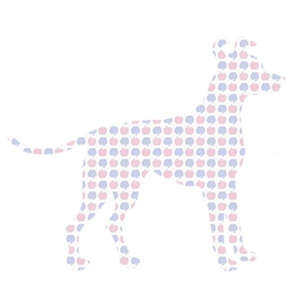 Inke Tapetentier Hund Apfelmuster blau rosa