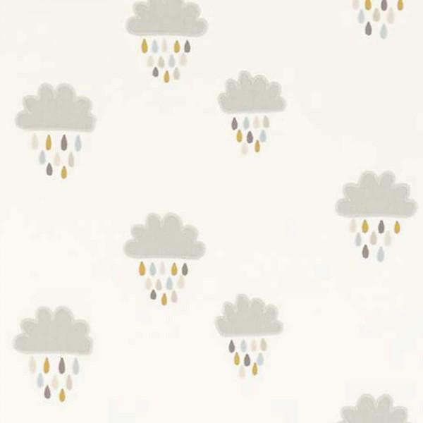 Scion Guess Who Stoff Wolken grau creme