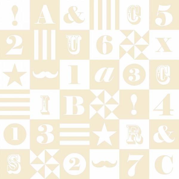 Rasch Textil Everybody Bonjour Tapete Buchstaben beige