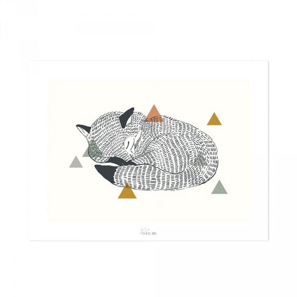 Lilipinso Poster schlafender Fuchs schwarz