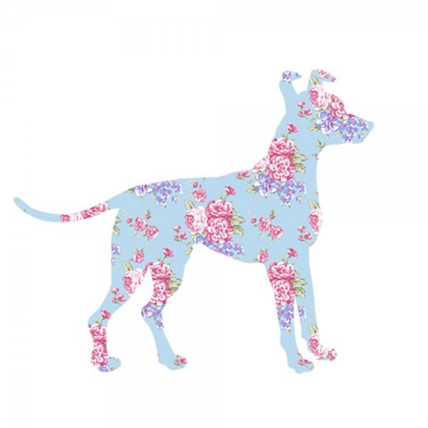Inke Tapetentier Hund Rosen hellblau pink