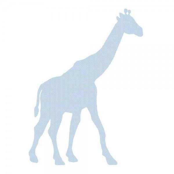 Inke Tapetentier Giraffe hellblau Punkte weiss