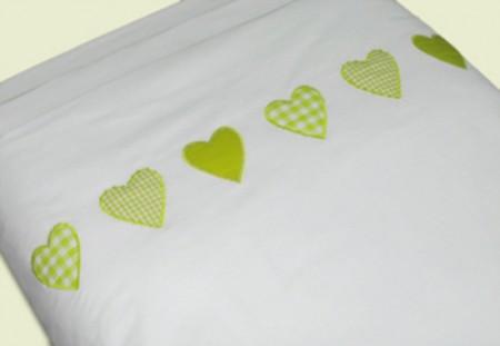 Taftan Bettwäsche 100 x 135 Herzen lime