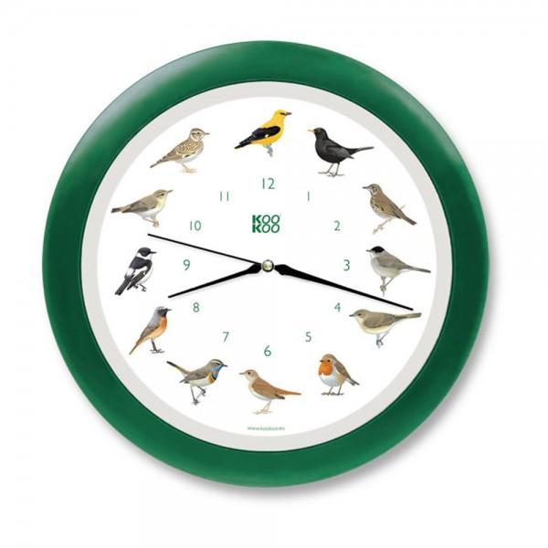 Kookoo Kinder Wanduhr Singvögel grün