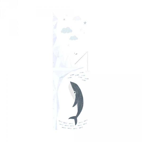 Lilipinso Wandsticker Messlatte Angelnder Eisbär mit Wal