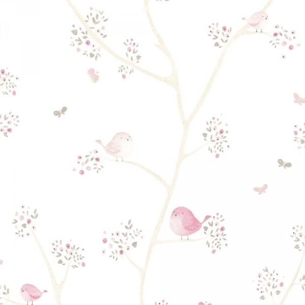 Casadeco My Little World Stoff Vögelchen rosa grau