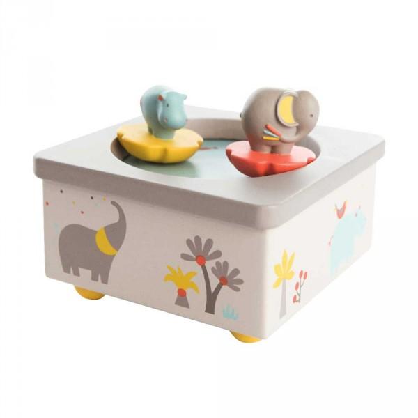 Moulin Roty Spieluhr Elefant und Nilpferd Holz