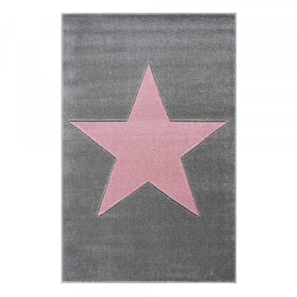 Livone Kinderteppich Stern rosa auf grau