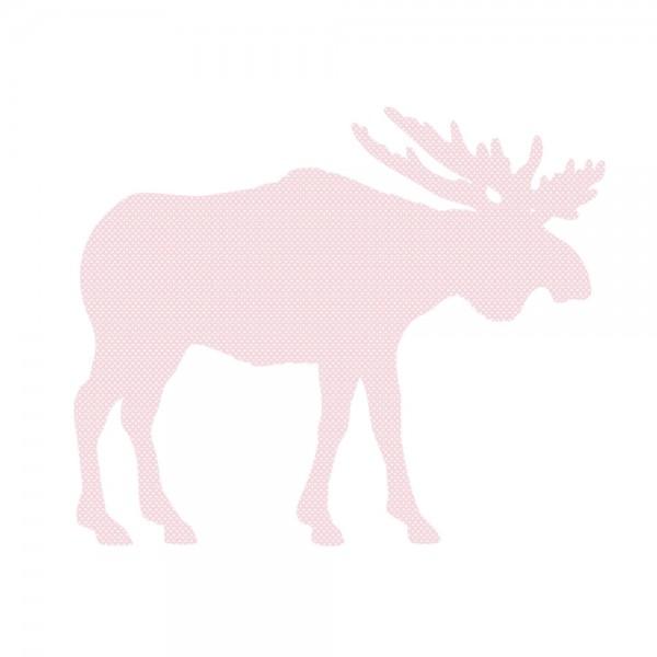 Inke Tapetentier Elch rosa Punkte weiss