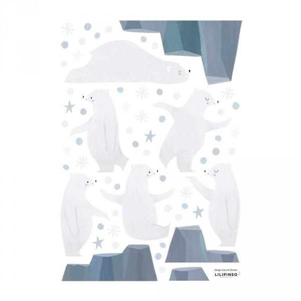 Lilipinso Wandsticker A3 Jonglierende Eisbären grau hellblau
