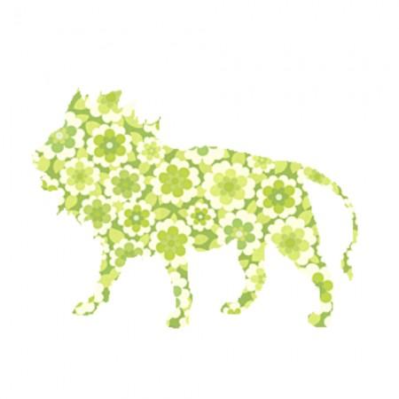 Inke Tapetentier Löwe Blumen grün