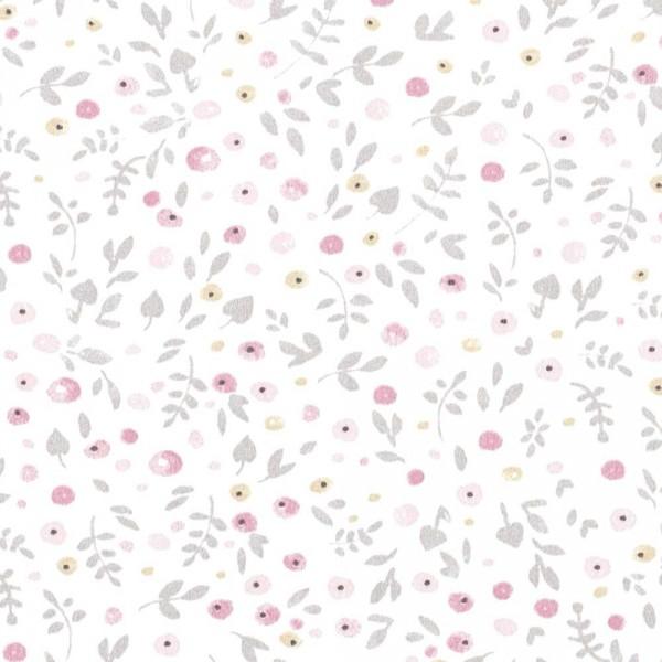 Casadeco My Little World Stoff Streublümchen grau rosa