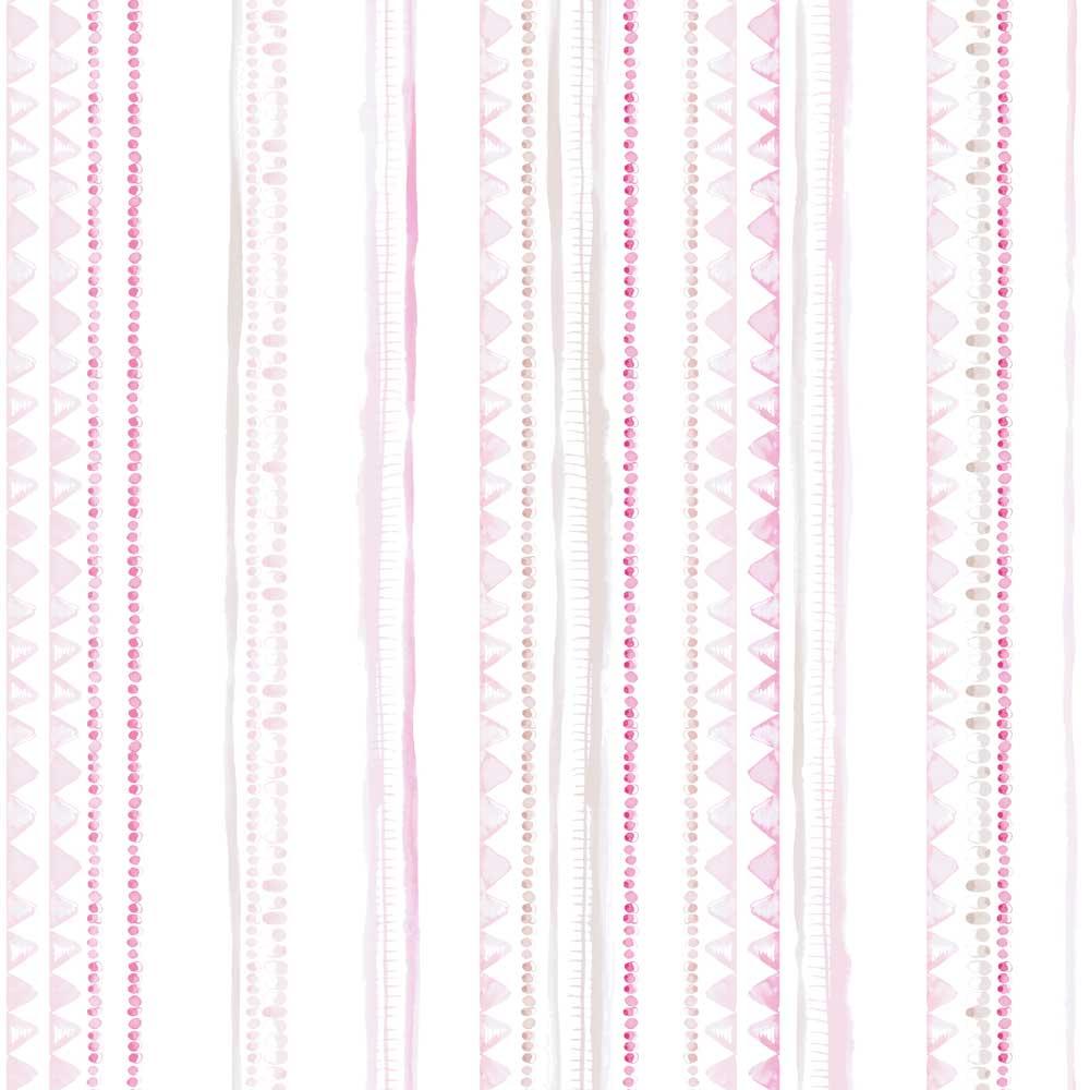 Caselio ohlala streifentapete wimpel ketten rosa pink grau bei kinder r ume - Wimpel babyzimmer ...