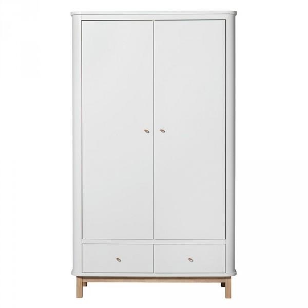 Oliver Furniture Wood Kleiderschrank 2 türig weiss/Eiche