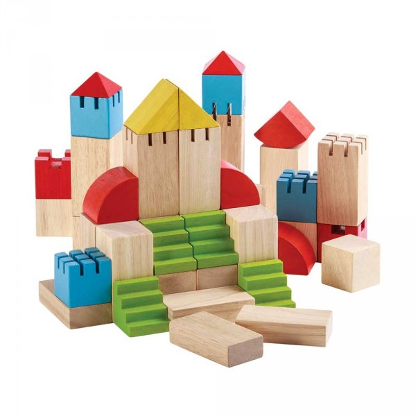 Plan Toys Bauklötze Set Häuser natur mit bunt
