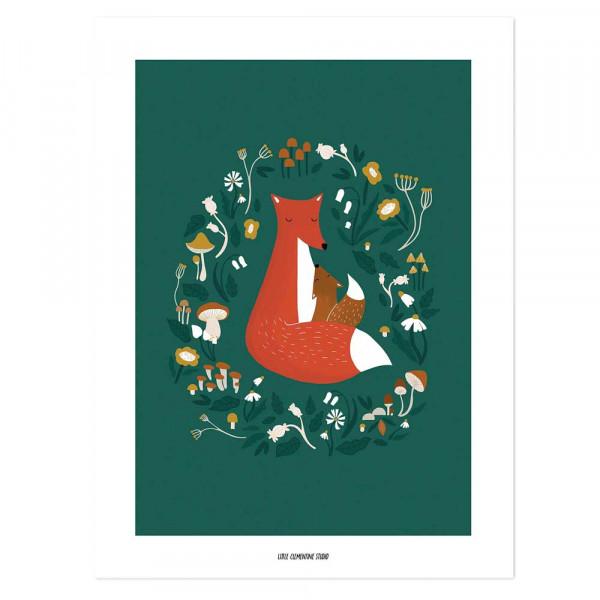 Lilipinso Poster Fuchs und Pilze dunkelgrün