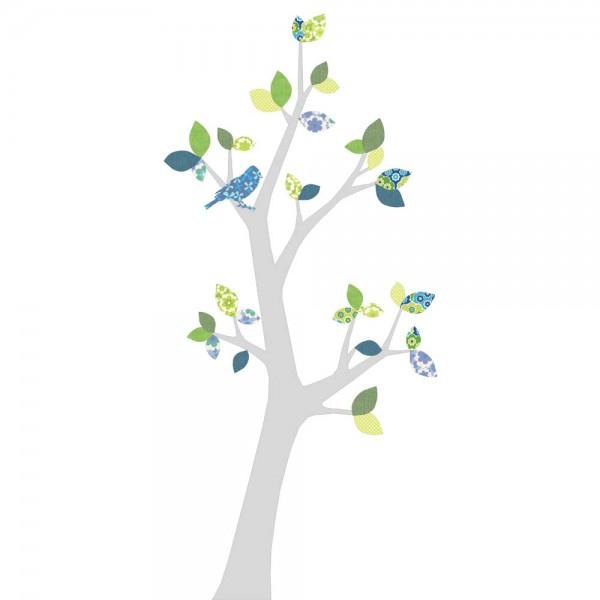 Inke Tapetenbaum 3 Stamm silber Blätter blau grün