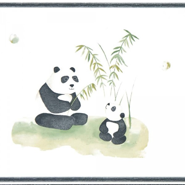 Casadeco Alice & Paul Bordüre Panda Bären braun grün anthrazit