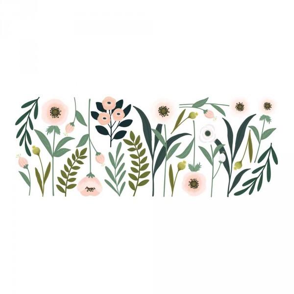 Lilipinso Wandsticker XL große Blumen und Blätter rosa grün