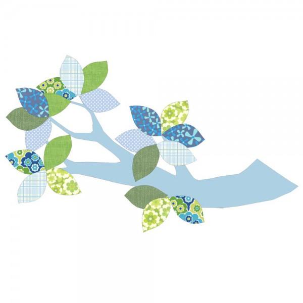 Inke Tapetenast hellblau Blätter grün blau