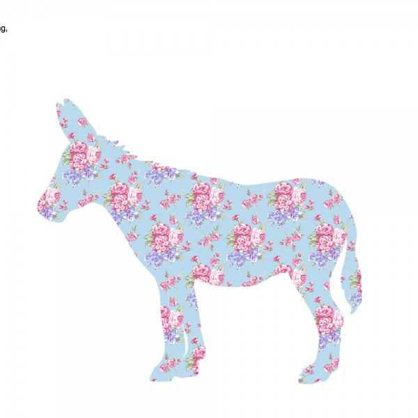 Inke Tapetentier Esel Rosen hellblau pink