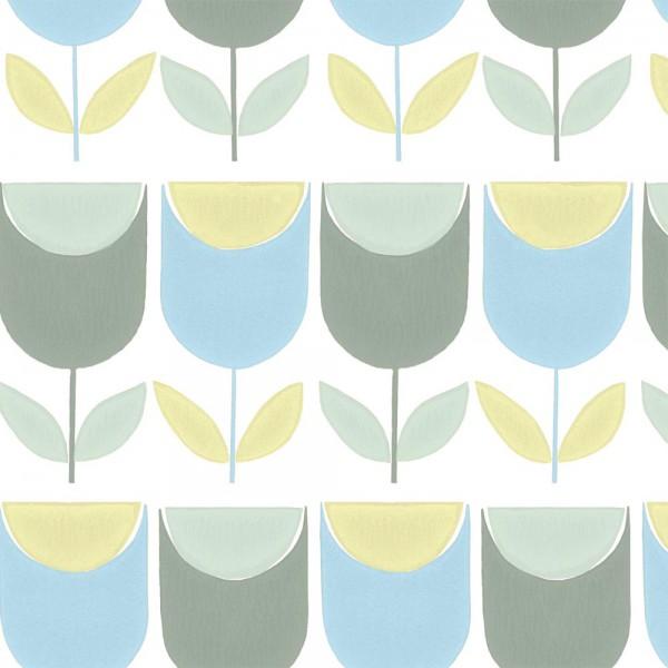 Inke Tapeten Wandbild Retro Tulpen blau