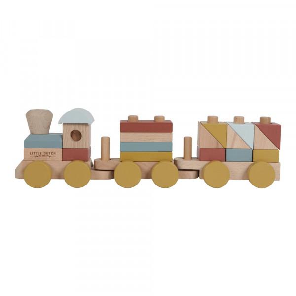 Little Dutch Holzeisenbahn mit Steckklötzen naturfarben