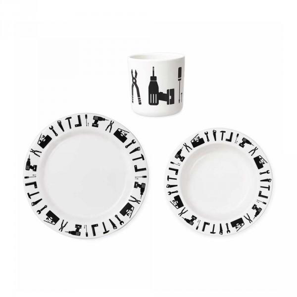 Design Letters AJ Kinder Geschirr-Set Werkzeug Melamin weiss schwarz