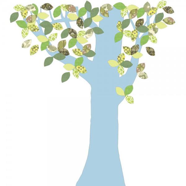 Inke Tapetenbaum 1 Stamm hellblau Blätter grün