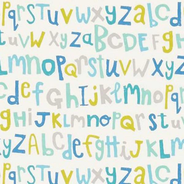 Scion Guess Who Stoff Buchstaben aqua blau grau