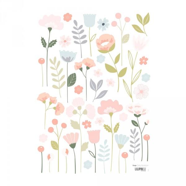 Lilipinso Wandsticker A3 Blütensortiment rosa pastell