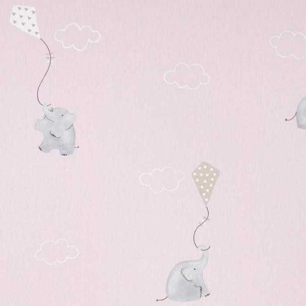 Casadeco My Little World Stoff Elefanten rosa grau