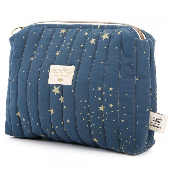 Nobodinoz Kulturtasche goldene Sterne blau