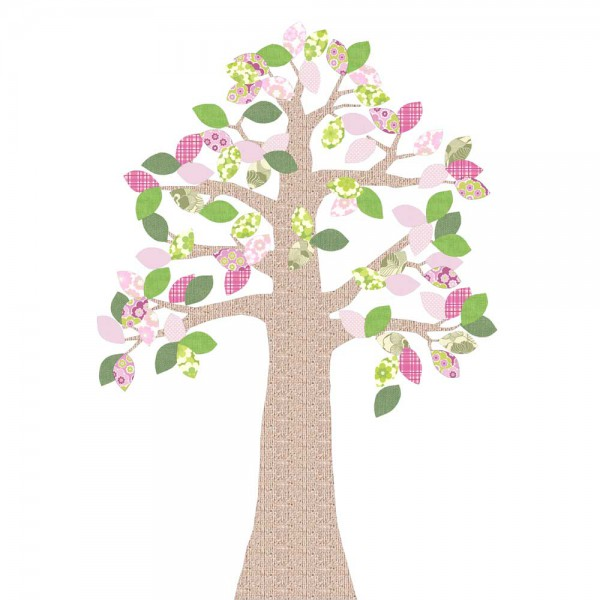 Inke Tapetenbaum Relief grün/rosa