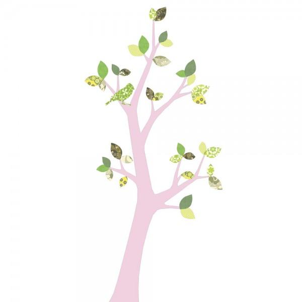 Inke Tapetenbaum 3 Stamm rosa Blätter grün