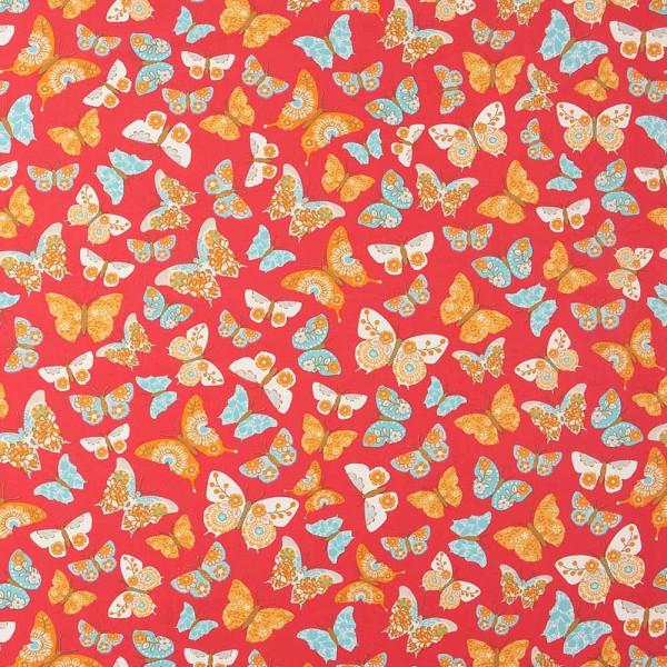 Caselio Girls only Stoff Schmetterlinge rot